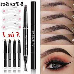 Brow Tattoo Pen Automatic Rotate Eyebrow Pencil With 5 Color