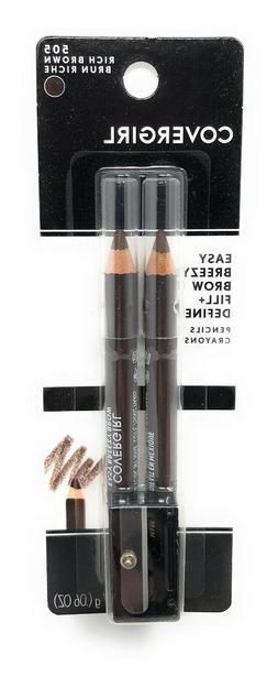 Covergirl Easy Breezy Eyebrow Pencils with Sharpener *RICH/D