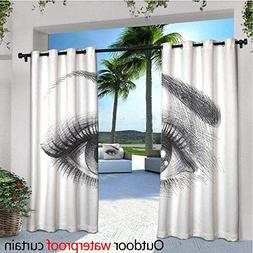 cobeDecor Eye Outdoor Blackout Curtains Pencil Drawing Artwo