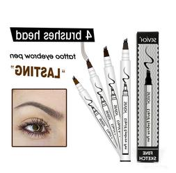 Eyebrow Tattoo Pen Waterproof Fork Tip Eyebrow Pencil 4 Head