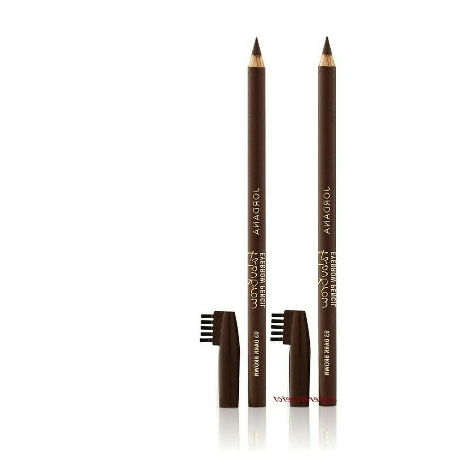 2 Pack Jordana Cosmetics Fabubrow Eyebrow Pencil 03 Dark Bro