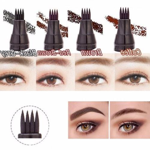 4-Tip Fork Eyebrow Pencil Pen Waterproof Long-Last Makeup