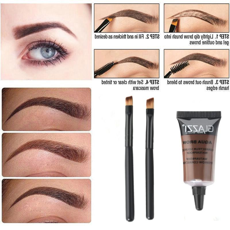 brown waterproof tint eyebrow henna with 2pc