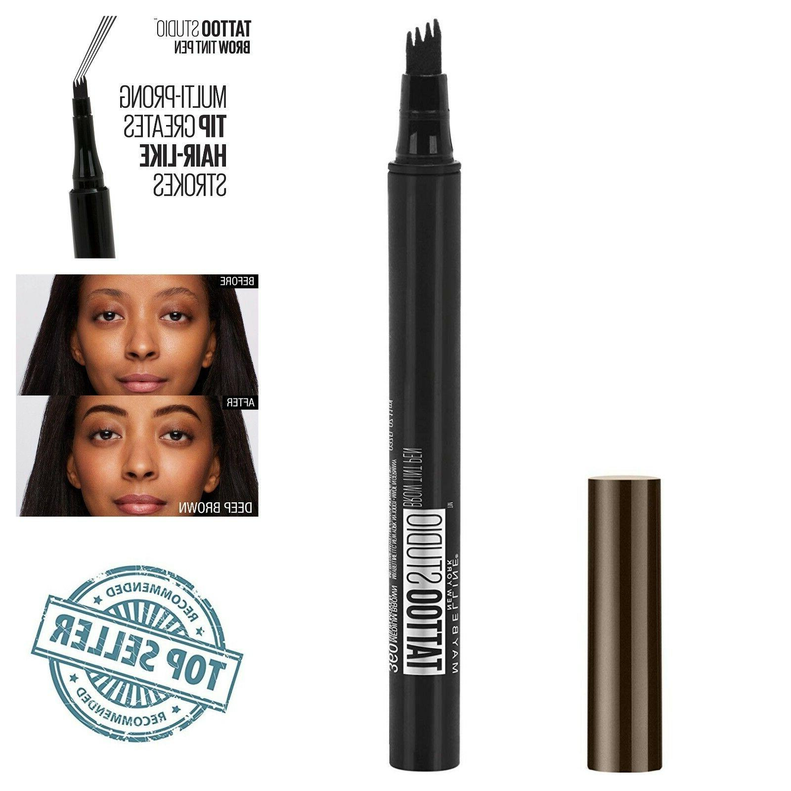 Maybelline TattooStudio Brow Tint Pen Makeup Eyebrow Deep Br
