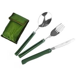 Tushja 3 Pcs/Set Stainless Steel Army Green Folding Cutlery