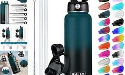 Stainless Steel Water Bottle with Straw - 32 oz Wide Mouth D